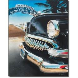 """Знак декоративный металлический """"Ретро-авто в Санта-Монике"""", размеры 42 х 33 см."""
