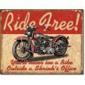 "Знак декоративный металлический ""Ride Free"""