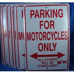 """Знак декоративный металлический """"Парковка только для мотоциклов"""" 33 х 22 см"""