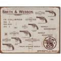 """Знак декоративный металлический """"Smith & Wesson-револьверы"""""""