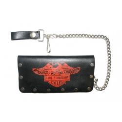 """Кожаный бумажник на цепочке """"Harley Davidson"""" с заклепками"""