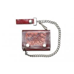 Кожаный бумажник на цепочке  с лошадьми, коричневый