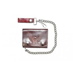 Кожаный бумажник на цепочке  с орлом, коричневый
