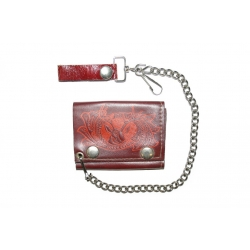 Кожаный бумажник на цепочке, коричневый