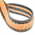 Кожаный прошитый ремень с плетением