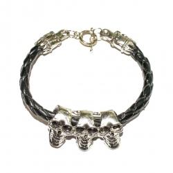 """Кожаный браслет """"Три черепа"""""""