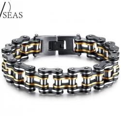 Массивный стальной браслет в виде цепи от мотоцикла