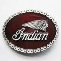 Пряжка овальная «Indian» (красная эмаль)