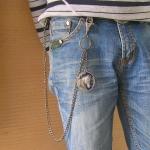 """Цепь на джинсы """"Боевой конь"""" (синяя эмаль)"""