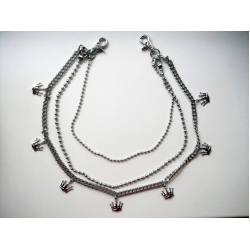 Тройная цепь на джинсы для бумажника/ключей с коронами