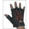 Кожаные перчатки с пламенем