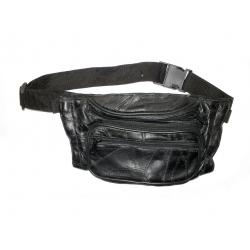 Кожаная сумка на пояс, двухсекционная