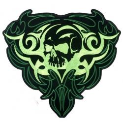 """Нашивка """"Зеленый череп"""" 13 х 12 см."""