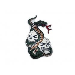 "Нашивка ""Змея с черепами"" 6 х 10 см."