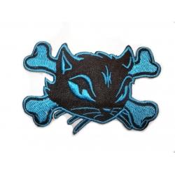 """Нашивка """"Кошка и кости"""", синяя"""