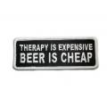 """Нашивка """"Лечение - дорогое, пиво - дешевое"""" 10 х 4 см."""