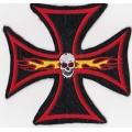 """Нашивка """"Крест с черепом и пламенем"""" 11,5 х 11,5 см"""