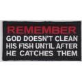 "Нашивка ""Помни! Бог не чистит свою рыбу..."", 10 х 5 см."