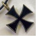 """Подвеска на каучуковом шнурке """"Мальтийский крест"""""""