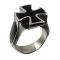 """Перстень мужской """"Мальтийский крест"""", черный."""