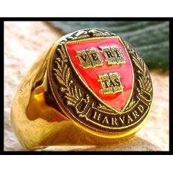 """Позолоченный перстень Гарвардского Университета """"Veritas"""""""