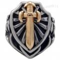 """Массивный перстень """"Щит и меч"""", размер 21 мм."""