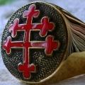 """Позолоченный перстень """"Крест Лотарингии"""" ( Croix de Lorraine )"""