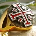 """Позолоченный перстень """"Иерусалимский крест"""""""
