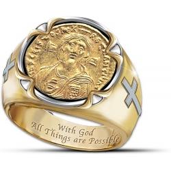Позолоченный перстень с изображением Христа