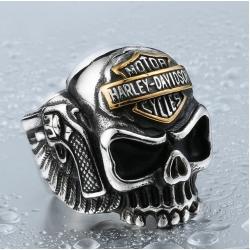 """Cтальной перстень с черепом и пистолетами """"Harley Davidson"""""""