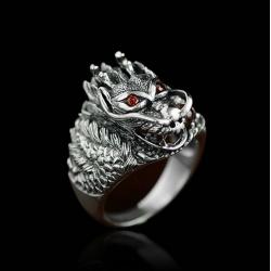 """Массивный стальной перстень """"Дракон"""""""