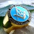 """Позолоченный перстень """"Свободные и признанные масоны"""""""