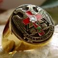 """Позолоченный масонский перстень """"Древний и принятый шотландский устав"""""""