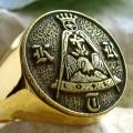 """Позолоченный масонский перстень """"Рыцарь Розы и Креста"""", 18 степень"""