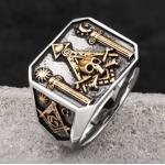 Позолоченный масонский перстень