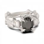 Серебряное кольцо со скелетами и камнем