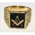 """Позолоченный масонский перстень с символом """"G"""""""
