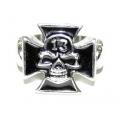 Массивный стальной перстень с крестом и черепами