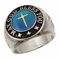 """Массивный стальной перстень """"Да благославит тебя Господь!"""""""