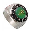 """Массивный стальной перстень """"В Бога мы верим"""""""