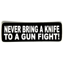 """Виниловый стикер на шлем/мотоцикл """"Никогда не приноси нож ..."""""""