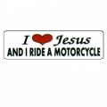 """Виниловый стикер на шлем/мотоцикл """"Я люблю Иисуса и я катаюсь на мотоцикле"""""""