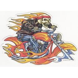 """Виниловый стикер """"Скелет на мотоцикле"""""""
