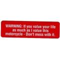 """Виниловый стикер на шлем/мотоцикл """"WARNING:..."""""""